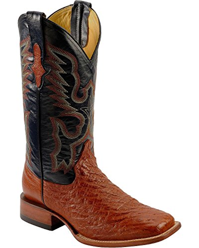 Mens Ferrini Brown Smooth Ostrich Cognac Western Cowboy Square Toe Boots 12 D