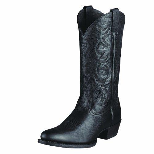 Ariat Men's Heritage Western R Toe Western Boot,  Black Deer Tan,  9 EE US