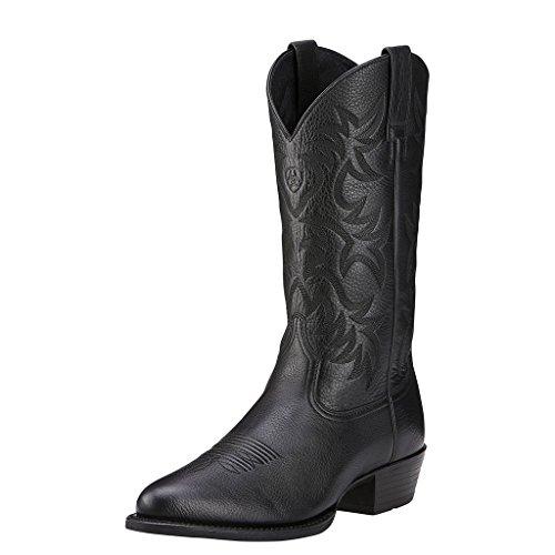 Ariat Men's Heritage Western R Toe Western Boot,  Black Deer Tan,  10.5 D US