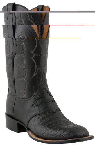 Lucchese C1062 Men's Black Waxy Horn Back Caiman Saddle/Black Jersey Calf Boots 9.5D-W8