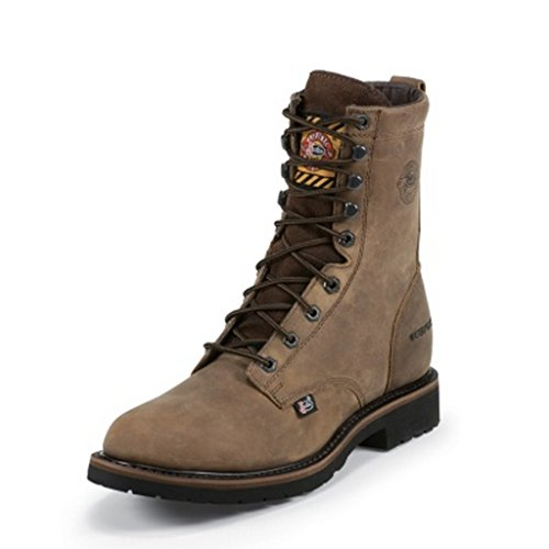 Justin Men's Wyoming Waterproof 8″ Lace-Up Work Boot Steel Toe Brown US