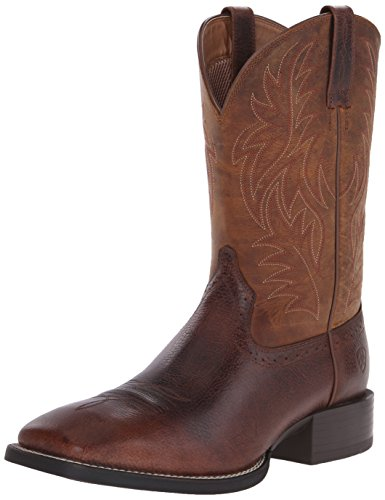 Ariat Men's Sport Western Wide Square Toe Western Boot,  Fiddle Brown/Powder Brown,  10.5 D US