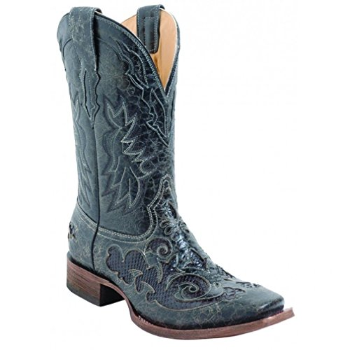 Corral Men's A2159 Snake Inlay Black Cowboy Boots 7.5 D