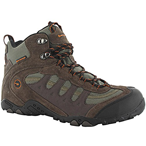 Hi-Tec Men's Penrith Mid WP Walking Boots – US 12 – Chocolate/Taupe/Orange