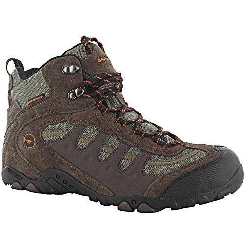 Hi-Tec Men's Penrith Mid WP Walking Boots – US 12 – Chocolate/Taupe/Orange