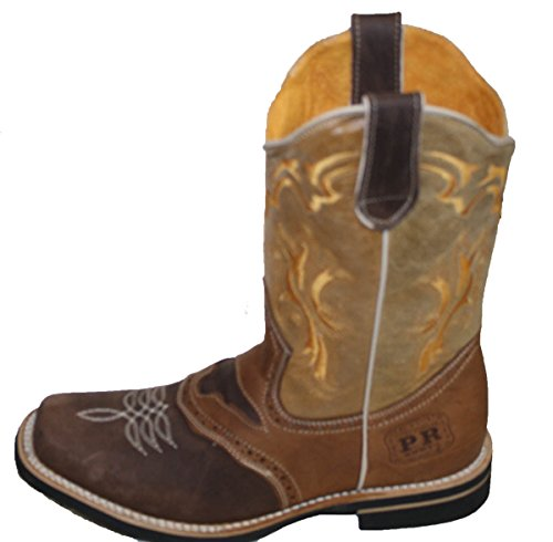 Men cowboy Genuine Cowhide Leather square toe rodeo western BOOTS_Brown_Tan_9.5