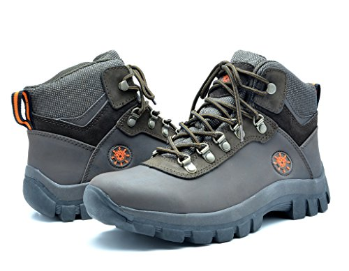KINGSHOW Men's 1551 Water Resistance Brown Rubber Sole Work Boots 10.5 M US