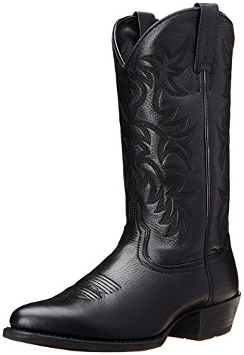 Ariat Men's Heritage Western R Toe Western Boot,  Black Deer Tan,  9 D US