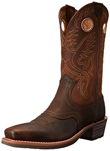 Ariat Men's Heritage Roughstock Square Toe Western Boot,  Brown Oiled Rowdy, 13  D