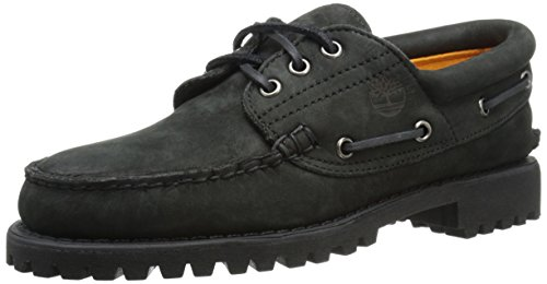 Timberland Men's Authentics 3 Eye Classic Lug Boot, Black Nubuck, 11 M US