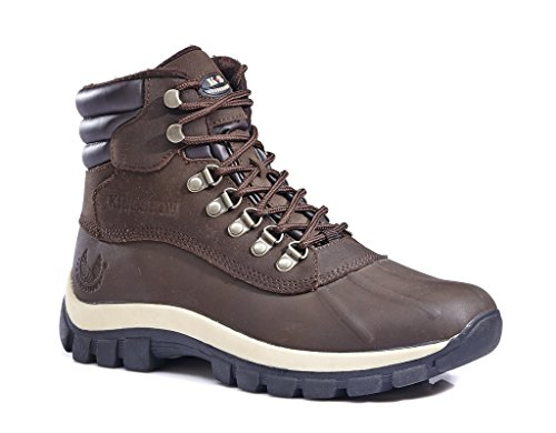 KINGSHOW Men's M0705 Water Proof Brown Leather Rubber Sole Winter Snow Boots,10US,Brown