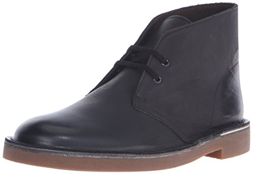 Clarks Men's Bushacre 2 Chukka Boot, Black Leather, 7.5 M US