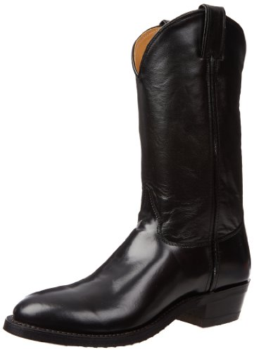 Justin Boots Men's U.S.A. 12″ Classic Western Boot Low Profile Round Toe,Black Melo-Veal,7 D US