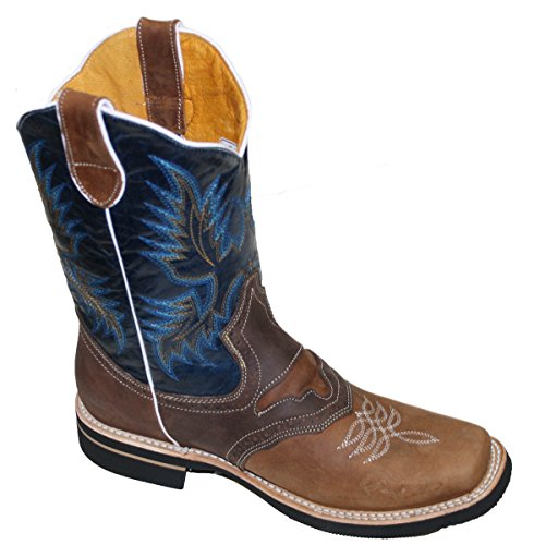 Men cowboy Genuine Cowhide Leather square toe rodeo western BOOTS_Tan_Black_10.5