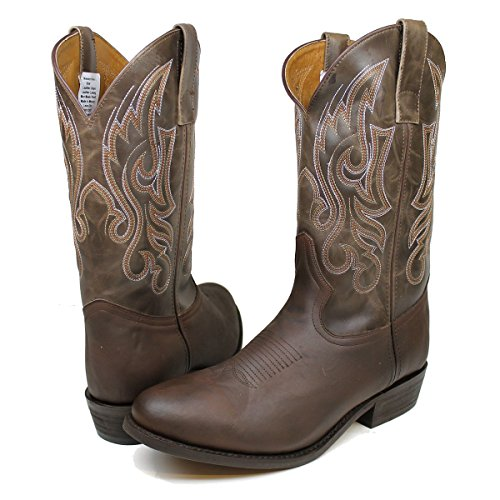 Brazos Men's Lasso Brown Leather Mid Calf Western Cowboy Boots (9 M, Brown)