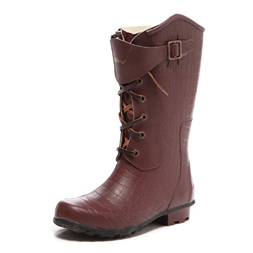 Amaort Men's SHEAT Short Rain Boot – Wine Croco – US7