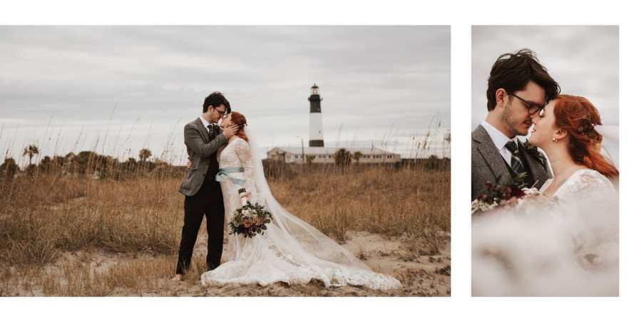 Bride and Groom on the beach at Tybee Island, Georgia