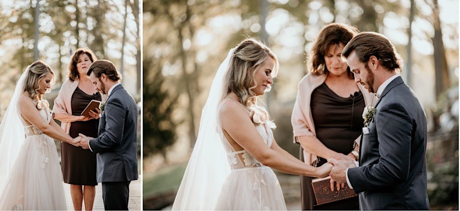 outdoors wedding ceremony at sunset at Little River Farms