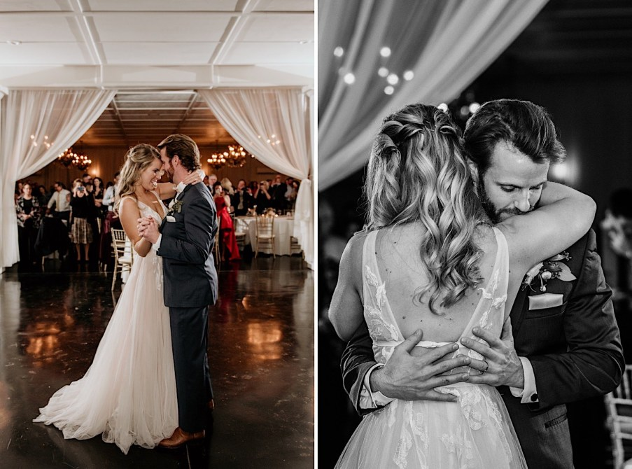 Bride and groom first dance at little river farms