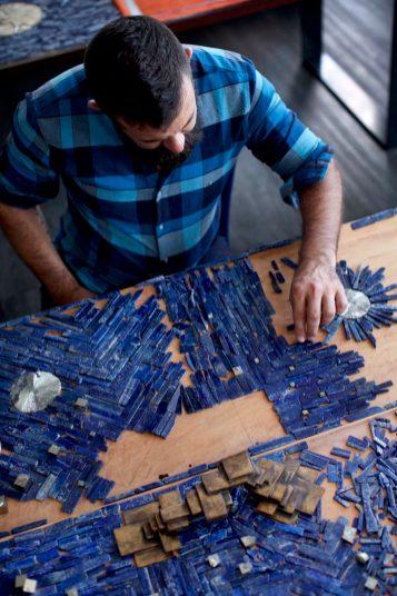 Christopher Boots Hand-laid lapis lazuli tile and pyrite appliqués