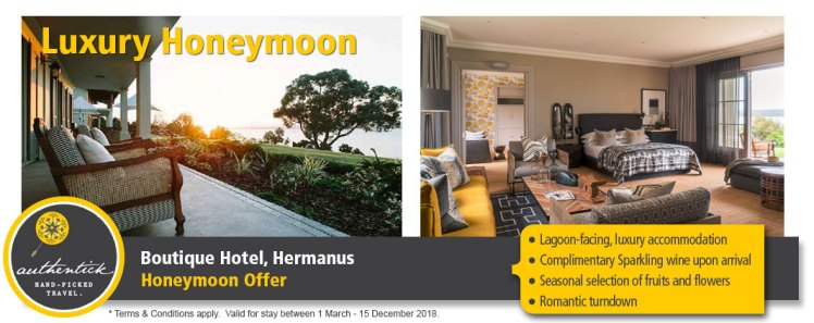 Hermanus Honeymoon Special - Luxury Boutique Hotel. Stay 3 Nights, only pay for 2.