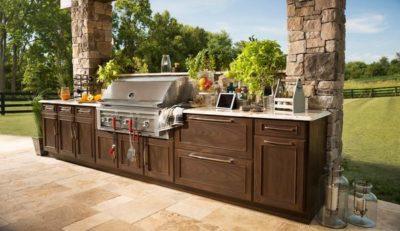 outdoor kitchen authentic plaster tile