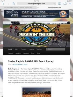 Cedar Rapids RAGBRAI website