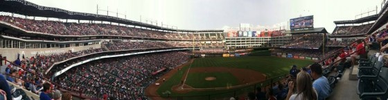 Panoramic of the Texas Rangers ballpark in Arlington