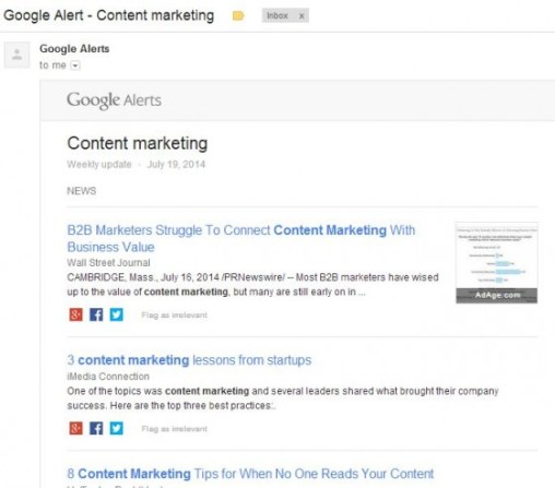 google alert content marketing