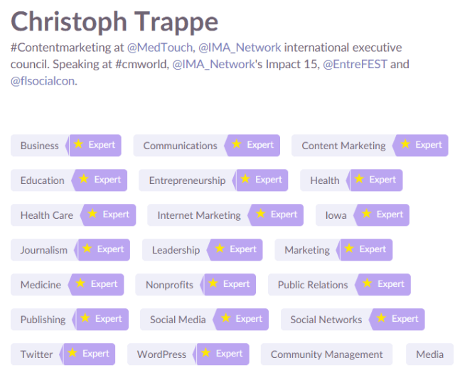 christoph trappe's klout expertise