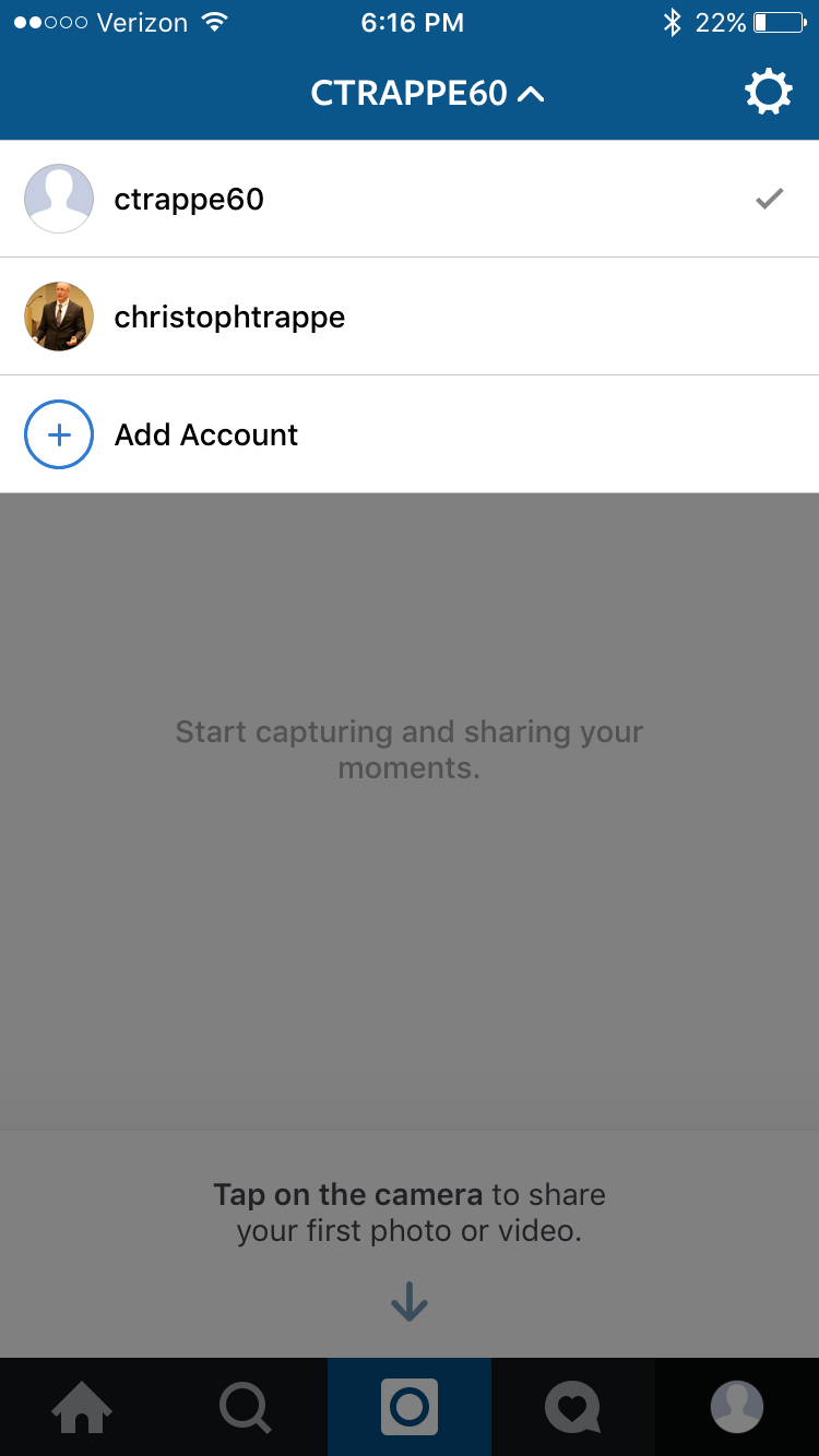 How to add a second instagram account to the app and dangers to account has been added you can switch back and forth by clicking on the drop down triangle by the name or by clicking on the icon in the bottom right ccuart Choice Image