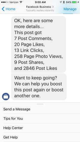 Facebook messenger and ads