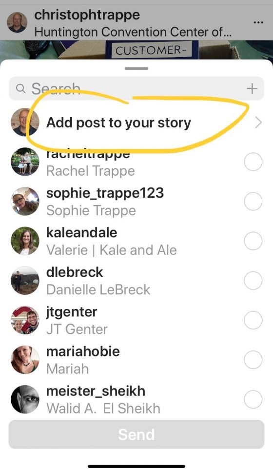 share your instagram post to your story