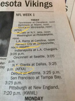 tv listings of nfl games by channel