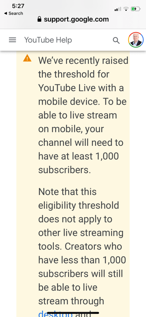 YouTube restrictions on mobile live