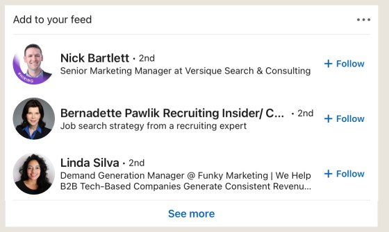 Recommend it profiles in LinkedIn feeds
