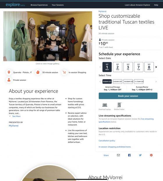 Virtual shopping visit