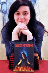 Sloan Street's Samantha Gregory with her debut novel launch in the Island Arts Centre US0913-401PM Pic by Paul Murphy