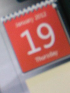19th January 2012 date on computer screen display