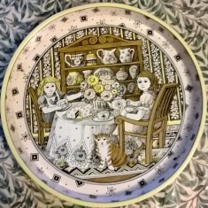 National Trust tea tray showing a tea party