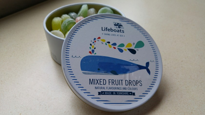 Photo of our tin of RNLI travel sweets, purchased from the Morecambe lifeboat station shop