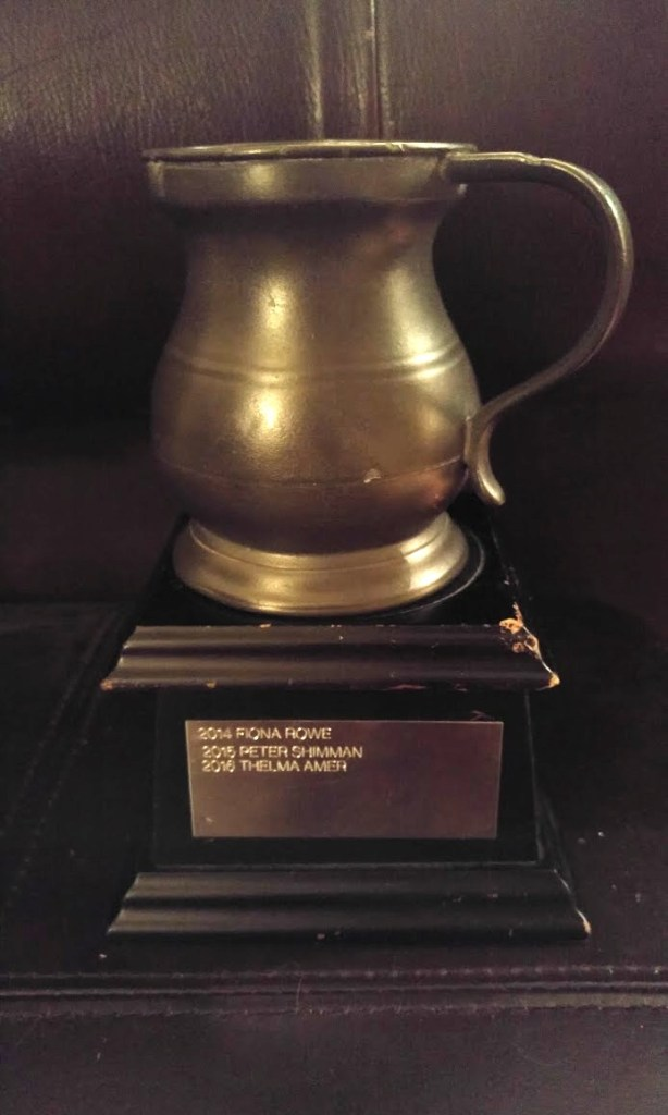 Trophy showing engraved names of Debbie's father and aunt
