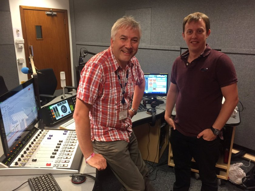 Photo of two radio chaps in broadcasting studio