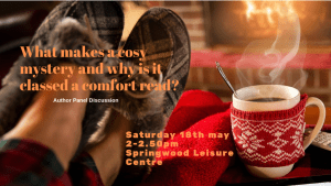 promotional banner for the Cosy Mystery panel event