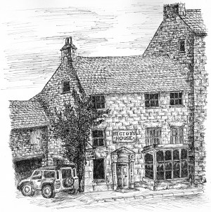 line drawing of Hector's House by T E Shepherd