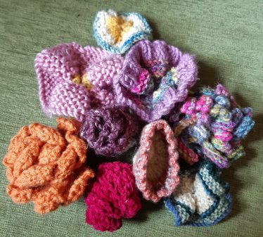 photo of knitted flowers