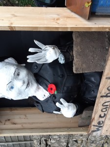 David Bowie scarecrow with poppy buttonhole