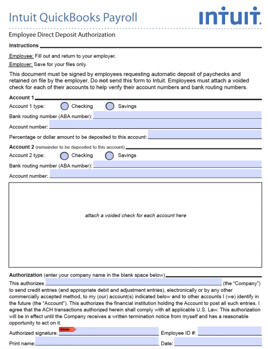The social security number is required to. Free Intuit Quickbooks Direct Deposit Authorization Form Pdf