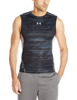 Under Armour Mens HeatGear Armour Printed Sleeveless Compression Shirt