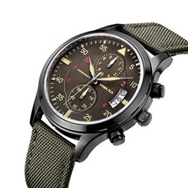 YISUYA Mens Sport Military Chronograph